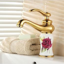 Wholesale Porcelain Paint Sink - CNXIRI Noble elegant White Painted Flower Porcelain Faucets Bathroom Brass Faucet Sink Basin Mixer Tap A4154