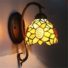Wholesale vintage flower lamp - Sunflower Led Wall Lights Vintage Minimalist Warm Glass Flower Wall Lamp Lights Bedroom Living Room Aisle