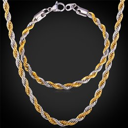 Wholesale Real Gold Bracelet Men - U7 Two Tone Gold Plated Rope Chain Necklace Set Party Jewelry 18K Real Gold Plated Stainless Steel Necklace Bracelet Men Jewelry Set