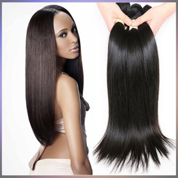 Wholesale cambodian weave extensions - Brazilian Human Hair Extension 3 4 Pcs Lot Malaysian Peruvian Cambodian Unprocessed Virgin Straight Hair Bundles Dyeable 9A Human Hair Weave