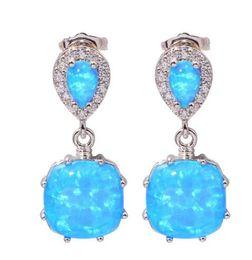 Wholesale Luxury Opal Jewelry - Elegant Ladies Fashion Jewelry Fire Opal Earrings Diamond Luxury Wedding 925 Silver Bride Statement Earrings Gifts