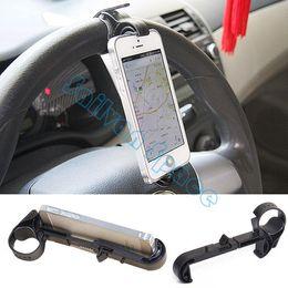 Wholesale Shelf For Cars - Car Steering wheel phone Universal Mount Holder Handset shelf stand Mobile available for Iphone Samsung i9300 B11 SV003825