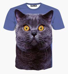 Wholesale Big Cat Face Shirt - FG1509 Hot sales Summer men T Shirts animal shirts Big Face Cat tshirts O-neck Short Sleeve Tops round neck Blue t shirts Free shipping