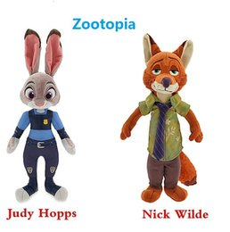Wholesale Wholesale Stuffed Fox - EMS Zootopia Movie Zootopia plush toys Nick Wilde and Judy Hopps Fox Rabbit Stuffed Cartoon Dolls Best Gift Cute Plush Toys 23cm&30cm US02