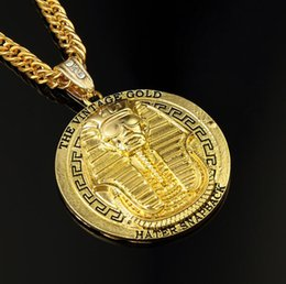 """Wholesale Necklaces Pendants Gold Plated - HIPHOP 2016 24K Gold Plated Gold King Pharaoh Medallion Pendant 35.4""""inch Cuban Chain Hip Hop Silver Gold Necklace High Quality TOP1280"""