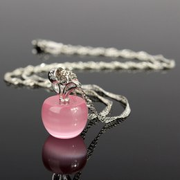 Wholesale Pink Apple Jewelry - Wholesale-Fashion Woman Girl Jewelry Silver Chain Clear Pink Opal Apples Necklace Pendants Crystal Faux Diamant Lovely Necklaces Hotting