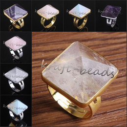 Wholesale Precious Stones Rings - Wholesale 10Pcs Charm Silver Gold Plated Amethyst Rose Quartz Rock Crystal pyramid Beads precious stone Adjustable Finger Ring Jewelry