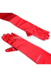 Wholesale Dresses F - Free Shipping In Stock Red Long Elbow Finger Gloves Mittens F Party Wedding Bridal Evening Dress Free Shipping