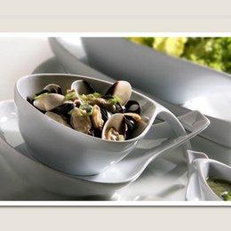 Wholesale Porcelain Sauce Dish - Wholesale-Hot Sell L Size 2 pcs White Porcelain Cute Shape Bowls&Saucers Kitchen Utensils Sauce Dish Rice Salad Dinner Bowl Tableware