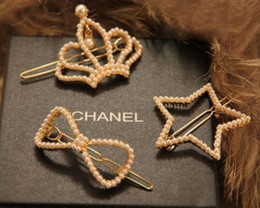 Wholesale Crown Molding Wholesale - Fashion Crown Stars Bowknot Pearl Inlaid Molding Hair Clips Bobby Pin Hair Accessories