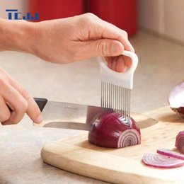 Wholesale Kitchen Aid Slicer - Kitchen Onion Slicer Cut Onion Holder Fork Tomato Vegetable Slicer Cutting Aid Guide Holder Fruit Cutter Cooking Accessories