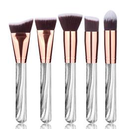 Make-up pinsel set real online-Make-up Pinsel Set 5 stücke Pro Marmor Marmor Design Echtholzgriff Kosmetische Foundation Powder Make-Up Pinsel Kits Makeup Tools