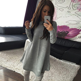 Wholesale Knitted Sweater Dress For Women - 2016 Winter New Fashion O-Neck Long Sleeve Sweater Dress For Women Solid Casual Knitted Dress Plus Size Women Loose Dress