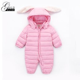 Wholesale Baby Outer - Gold Hands Baby Rompers Autumn Winter Baby Clothing Design Rabbit Ear Hooded Cute Style Jumpsuit Kids Warm Coat Outer wear
