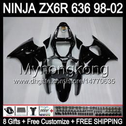 Wholesale Kawasaki Ninja 636 Body Kits - ALL Gloss black 8Gifts+ Body For KAWASAKI NINJA ZX6R 98-02 MY29 ZX636 ZX 636 ZX-6R ZX 6R 98 99 00 01 02 1998 1999 2000 2001 2002 Fairing Kit