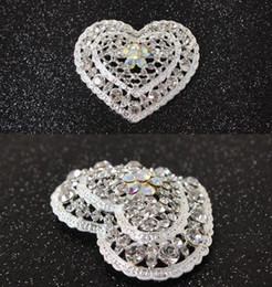 Wholesale Small Brooches Pearls - 2016 New Hot Style Silver Color Clear Rhinestones Crystal Hollow Cut Out Small Heart Pin Brooch 12pcs lot Wholesale