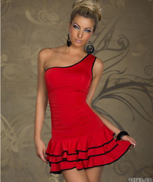 Wholesale Dresses Single Shoulder - free shipping New Arrivals Supply Europe and America sexy lingerie clubwear hit the color Single shoulder Dress black red N094