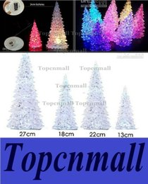 Wholesale Color Changing Christmas Ornaments - 13cm 7 color changing acrylic holiday hyaline holder light Winter Lane Tabletop Christmas Trees with LED lights brand new Ornament
