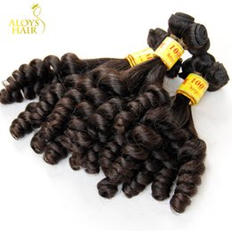Wholesale Malaysian Weave Uk - 3PCS Lot Grade 8A Aunty Funmi Hair Unprocessed Virgin Malaysian Human Hair Weave Bundles Bouncy Spring Egg Curls Hair Extensions UK Nigerian
