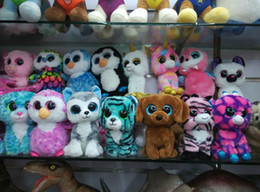 Wholesale Small Bear Gifts - 100pcs Ty Beanie Boos Big Eyes Plush Toys Dolls Animals Bear Rabbit Penguin Soft Stuffed Toys Small Kids Plush Toys Gifts