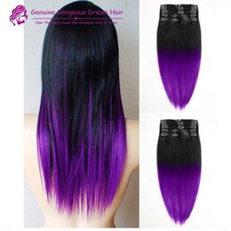 Wholesale Colorful Curly Natural Hair - 2015 Fashion black to purple mermaid colorful ombre Brazilian clip in hair extensions Two ombre purple clip in hair 7pcs Set