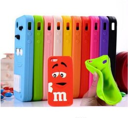 Wholesale S4 Cartoon - 2016 Cartoon M&M Defender Rainbow Beans Smile Silicone Case for iPhone 4S 5S 5C 6 plus Samsung Galaxy S3 S4 S5 Note 3