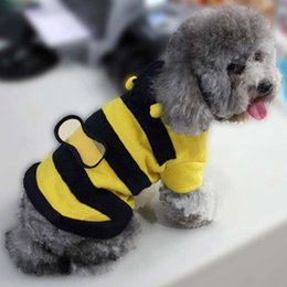 Wholesale Large Wings Costume - dogs pets clothing and clothes Cute Fleece Bumble Bee Lovely Wings Dog Cat Pet Costume Apparel Clothes Coat A5MHM468-1