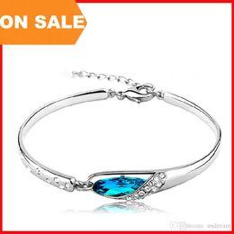 Wholesale Traditional Christmas Dress - Fashion Crystal bracelet women blue glass slipper charm bangle cuff hand dress luxury jewelry Christmas gift 160181
