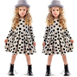 Wholesale Girls Boutique Ruffle Dress - European girls bottoming dresses 2016 new baby cotton stretch black cat pattern dress christmas children boutique clothing