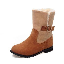 Wholesale Women Wearing Fur Heels - 2016 botas femininas autumn women boots female winter boots thick heel snow boots 2 style to wear
