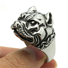 Wholesale Fast Dogs - 2pcs Fast Shipping New Design Dog Ring 316L Stainless Steel Fashion Jewelry Cool Biker Hot Band Party Animal Dog Ring