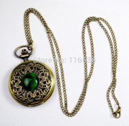 Wholesale Gothic Pocket Watch - NEW Big Vintage Emerald stone pocket watch Green Necklace woman Jewelry Gothic fashion retro Dropshipping Elf Eye