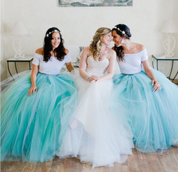 Wholesale Turquoise Purple Tutu - Two Pieces Bohemian Country Bridesmaid Dresses Long Floor Tutu Skirt Mint Green   Turquoise Bridesmaids Dress Custom Made
