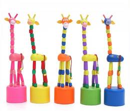 Wholesale Wood Giraffe - Wooden Swing Rocking Giraffe Push Up Puppet Finger Toys-Colors Assorted
