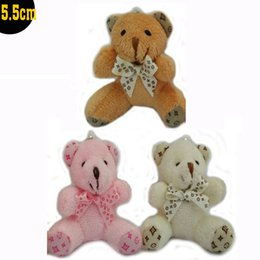 Wholesale Bear Bow Package - 5.5cm Stuffed Animal Cute Bow Teddy Bear cartoon Tactic Bear Pendans Stuffed Dolls bouquet packaging materials Promotion Gift
