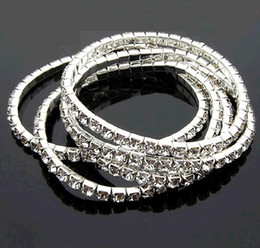 Wholesale Bracelet Ring Combination - Combination Bracelet Silver Row Rhinestones Tennis Shiny Crystal Stretch Elastic Chain European Star Style Charms Bracelets Fashion Jewelry