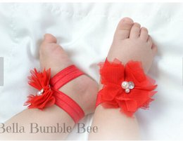 Wholesale Barefoot Sandals For Toddlers - Wholesale-New Baby Barefoot Sandal Flower Shoes with Flower Headband for Girl Foot Ties Newborn Toddler Flower Shoes 3set lot