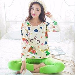 Wholesale Cartoon Pyjamas For Women - Wholesale- New Animal Cartoon Pajamas pyjama femme Spring Summer women pajama set Cotton pajamas home clothes for women
