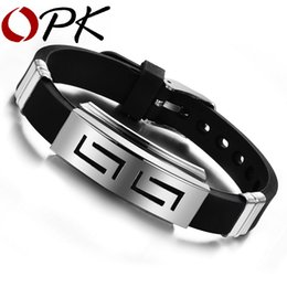 Wholesale Opk Jewelry - OPK 2018 New Fashion Jewelry Silicone Rubber Silver Slippy Hollow Strip Grain Stainless Steel Men Bracelet Bangle 806