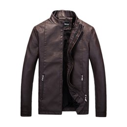 Wholesale Men S Red Leather Jacket - Fall-New Arrivals Fashion Solid Men Leather Coat Stand Collar Male Outwear Cardigans Zipper Homme Jacket Casual Men Jackets And Coats