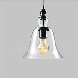 Edison lustre pingente de vidro on-line-Edison Moderno pingente de cristal sino de vidro Lâmpadas sala de Jantar Interior Contemporânea lustre de iluminação luminárias E27 110-240 V bl-010-1