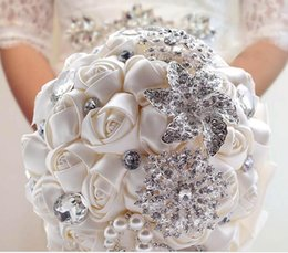 Wholesale Earthing Products - Wedding Decoration Supplies Hand Made Ivory Satin Roses Bright Diamond Flower Salable Product for Bride Bouquet H15847