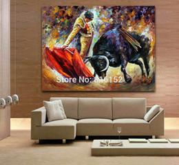 Olio spagnolo online-Palette Knife Oil Painting Emozionante immagine spagnola di corrida stampata su tela per la decorazione della parete dell'ufficio