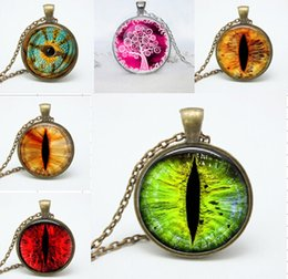 Wholesale Cat Eye Green Necklace - Green Cat Eye Necklace Pendants colorful Charms Art eye pendnat necklaces jewelry photo glass dome pendant jewelry