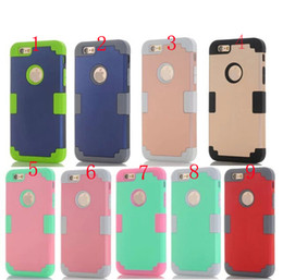 Wholesale Iphone5 Hybrid - Hard PC + Silicone Gel Combo Hybrid 3 in 1 Heavy Duty Dual Color Rubber skin case for iphone5 5S 5C 6 6S PLUS