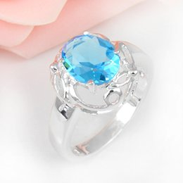 Wholesale Mix Rings 925 Silver - 6 PCS LOT Valentine Oval Sky Blue Topaz Gemstone 925 Sterling Silver Plated Weddiing Ring