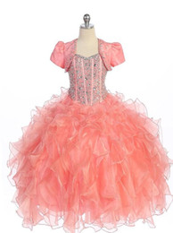 Wholesale Light Peach Capped Sleeve Dresses - 2016 Modern Peach Coral Girl's Pageant Dresses Princess with Crystal Sequins Beaded Ruffle Hot For little girl girls Flower Girl Dress gown