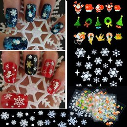 Wholesale 3d Christmas Nail Designs - Christmas 3D Nail Art Stickers Snowflakes Design 3D Nail Art Stickers Decals For Nail Tips Decoration DIY Decorations Fashion Nail Accessory