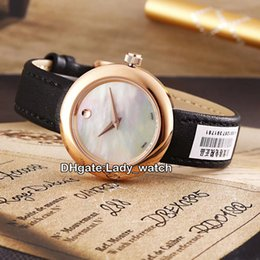 Wholesale Ladies White Leather Watch - High Quality Brand Lady Elegant Christmas Gift Museum 0607061 White Shell Swiss Quartz Womens Watch Rose Gold Sapphire Leather Strap Watches