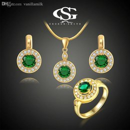 Wholesale George Necklaces - Wholesale-2015 George Smith G&S Luxury Women's Set Yellow Gold 18K Plated Green Stone CZ Earring \ Ring \ Necklace Hand Made Jewelry